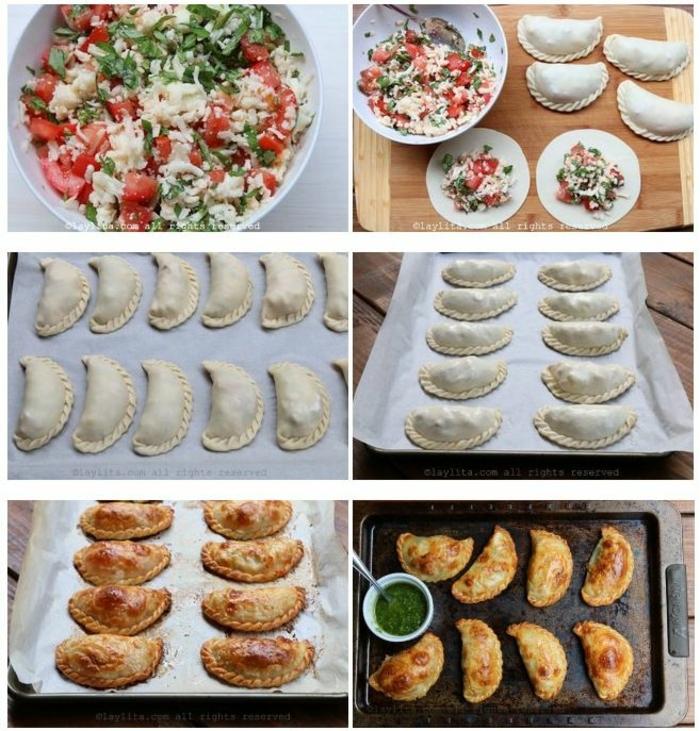 recetas faciles y rapidas para picoteo, empanadas llenas de queso, verduras y tomates paso a paso