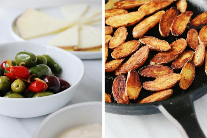 aceitunas verdes y pimientos en aceite de oliva y patatas fritas, ideas de recetas de tapas fáciles y rápidas