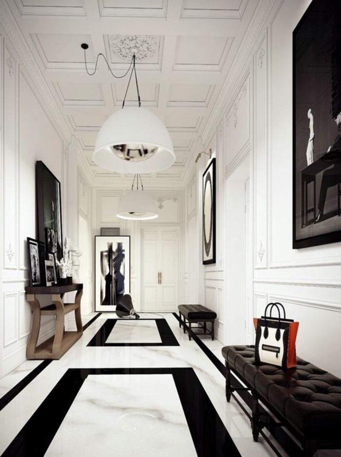 ideas sobre como pintar pasillo moderno, bonita decoración en blanco y negro con muebles modernos y grandes pinturas