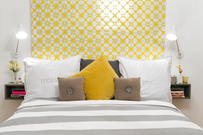 dormitorio matrimonio con cama con cabecero decorado de papel para forrar muebles