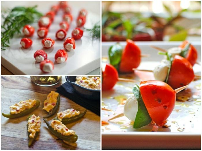 pinchos y recetas de tapas super fáciles, pimientos rellenos de ricotta, pinchos caprese, pimientos verdes con huevos fritos