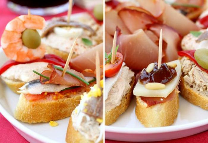 pinchos y recetas de tapas fáciles, tostadas con queso, jamón, pescado, gambas y aceitunas