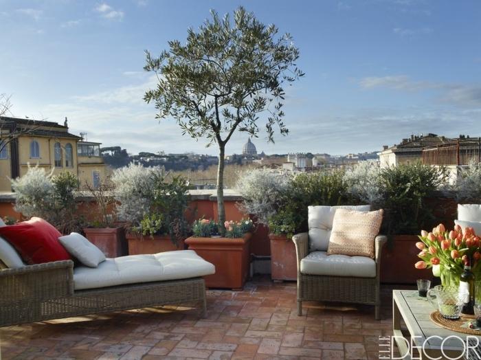 ideas para decorar terrazas modernas, grandes macetas con arbustos grandes, sillones de mimbre con colchonetas en beige