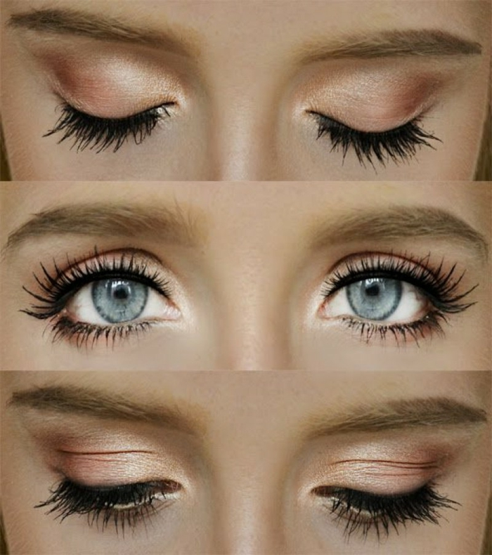 maquillaje paso a paso para conseguir un efecto de ojos más grandes, sombras en color naranja y dorado