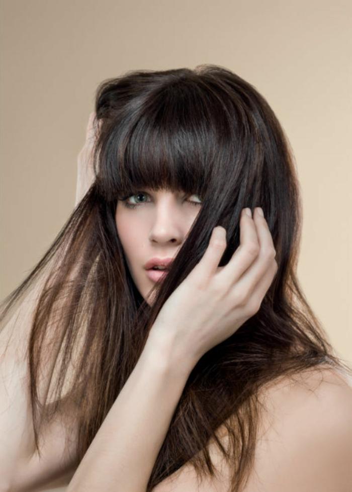 ejemplos de cortes de pelo con flequillo, flequillo recto moderno, cabello largo y grueso castaño corte recto