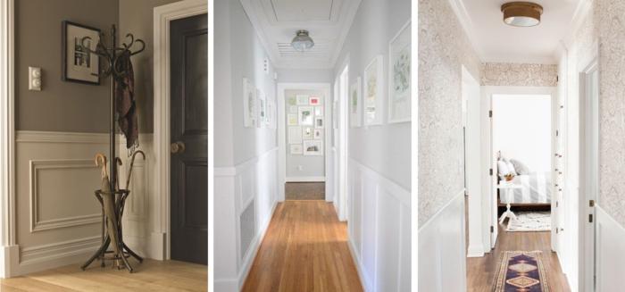 tres propuestas de decoracion de pasillo en beige, gris y rosado, pintar pasillo moderno ideas
