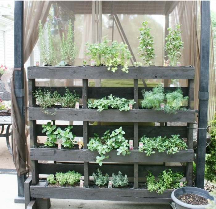 ingeniosa idea con macetas de palets negros, como hacer maceteros de madera para decorar la veranda