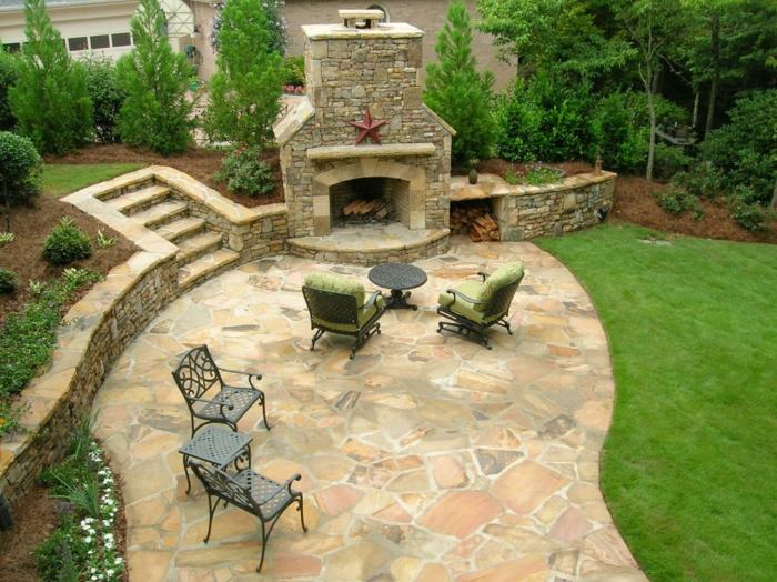 patios y jardines rusticos, ideas de decoración modernas, grande jardín con espacio de ocio