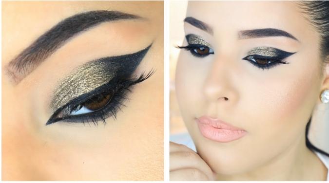 maquillaje paso a paso para conseguir ojos de gato, raya del ojo con delineador negro y sombras brillantes en dorado