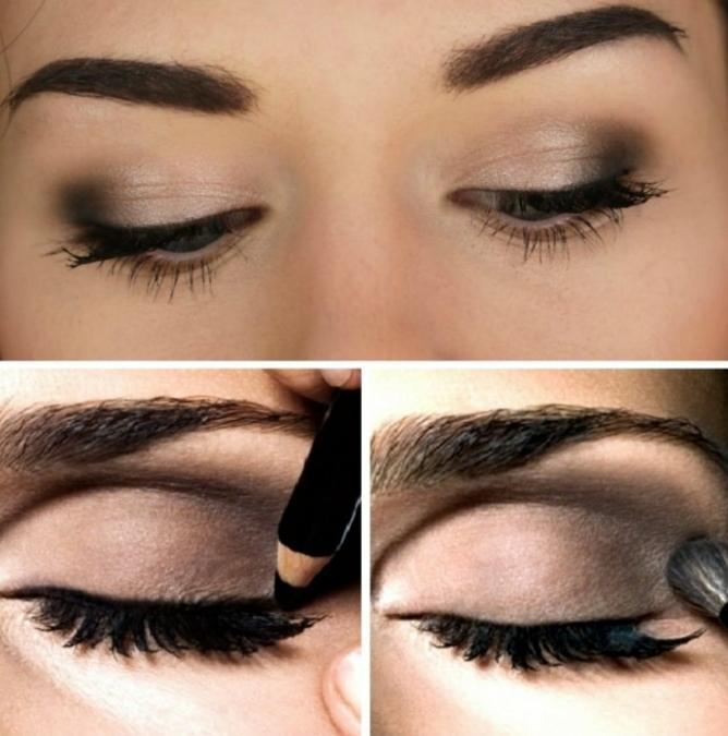 ideas sobre maquillaje paso a paso, mirada ahumada en tres pasos simples, sombras de ojos en beige y marrón