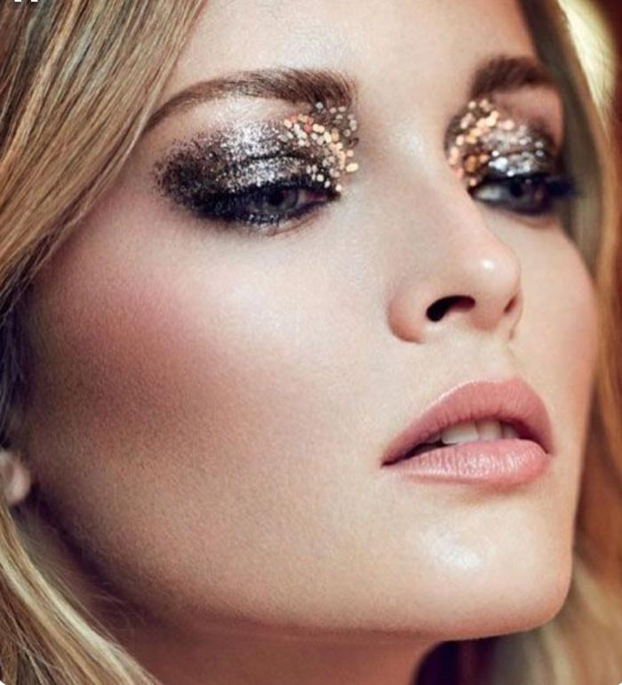 aprender a maquillarse para eventos oficiales, maquillaje con sombras con partículas relucientes