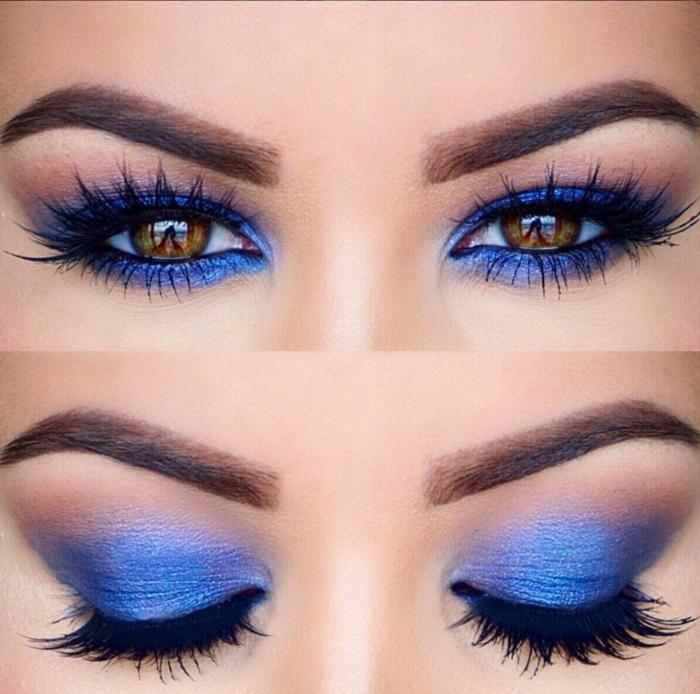 maquillaje fuerte en azul y lila con pestañas muy largas en negro, maquillaje paso a paso ideas