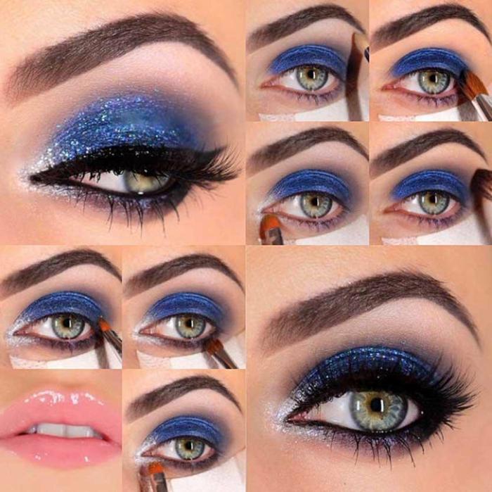 maquillaje paso a paso para eventos formales y para salir de fiesta, maquillaje de ojos fuerte en lila y azul