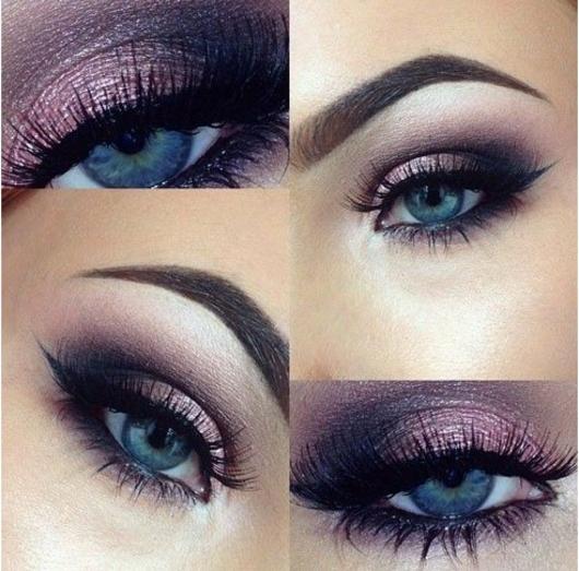 propuestas sobre como maquillarse bien paso a paso, mirada ahumada con sombras en rosado y negro