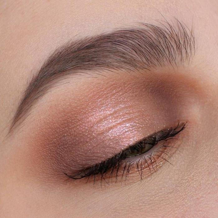 fotos sobre como maquillarse bien, sombras en colores cálidos y pestañas en negro, maquillaje tendencias 2018