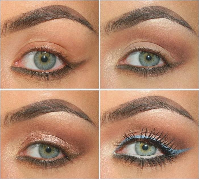 tutoriales sobre como maquillarse bien, línea en el párpado inferior con lápiz gris y sombras en dorado