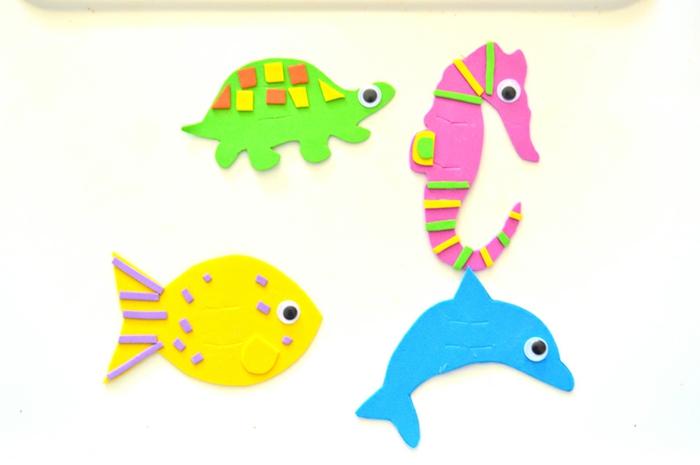 animales del océano hechos de goma eva, ideas de manualidades con goma eva con tutoriales