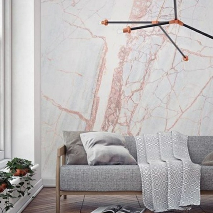 tendencias papel pintado, papel pintado rayas y papel decorativo imitando marmol decoracion salon tonos pastel
