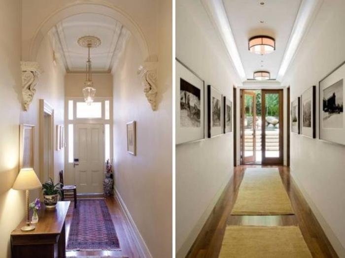 dos corredores decorados en estilo clásicos, pasillo largo y estrecho ideas, muebles pasillo de madera