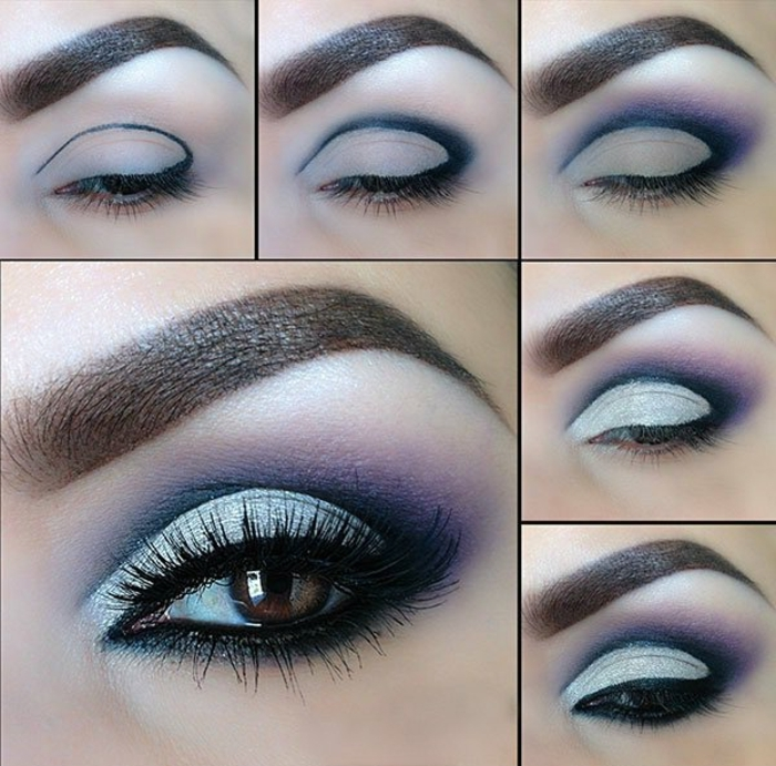maquillaje sencillo paso a paso, mirada ahumada con sombras en plateado, azul y lila, tonos metálicos en tendencia