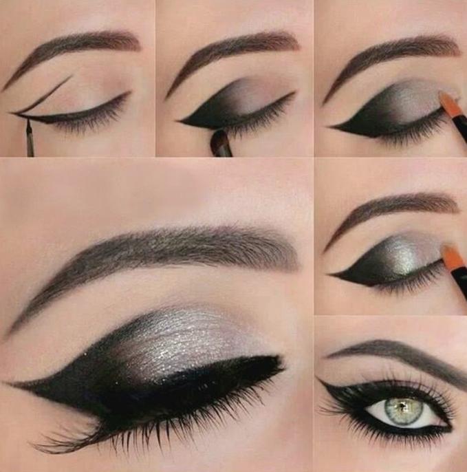 como aplicar maquillaje ojos paso a paso en los ojos, sombras en negro y plateado y raya del ojo alargada