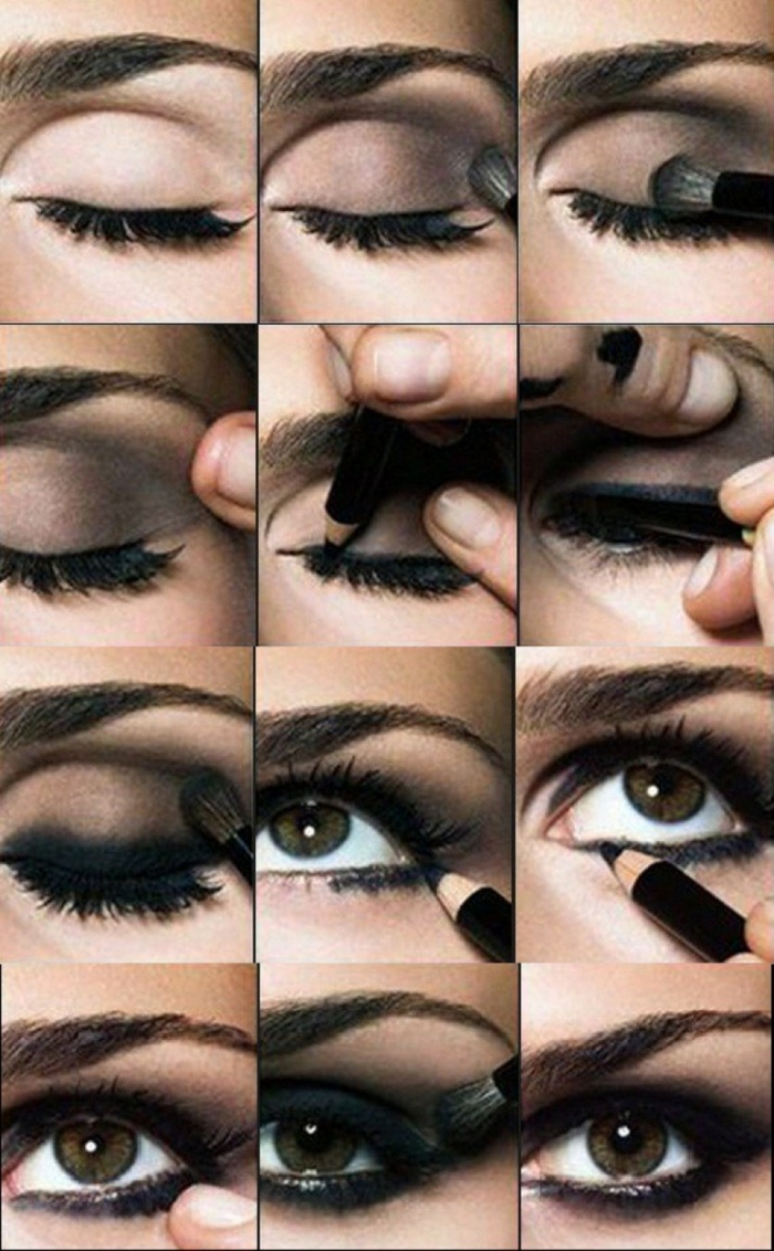 maquillaje ojos paso a paso para ojos ahumados en negro, como conseguir smookey eyes paso a paso