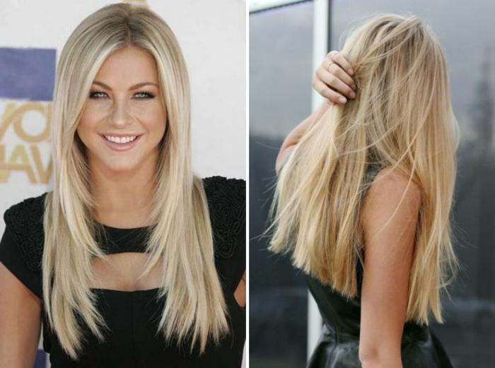 ideas pelo largo tendencias 2018, mujer con corte de pelo degradado, corte de pelo recto pelo rubio liso