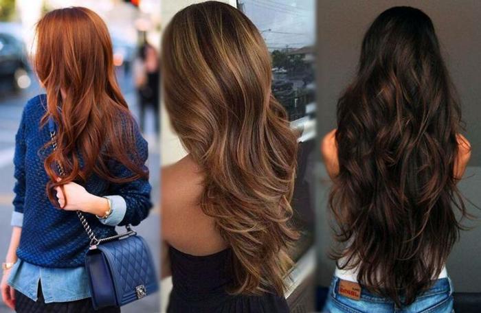 tres propuestas de cortes de pelo cara redonda, cabellos largos cortados en degradado, tendencias pelo largo 2018
