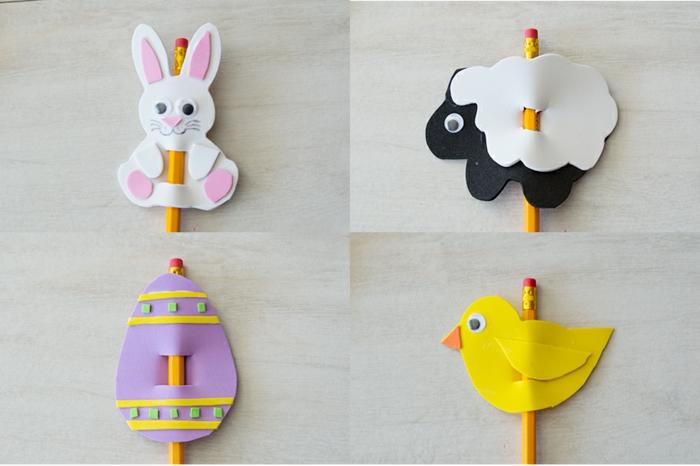 ideas de figuras de animales y rosas en goma eva paso a paso, decoracion de lapices en forma de animales