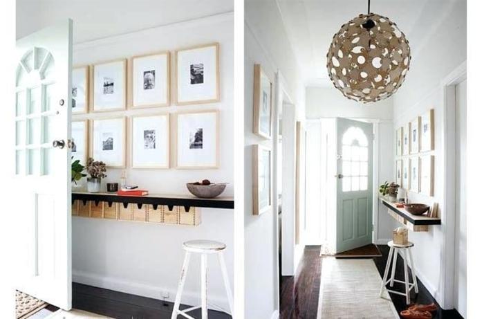 dos propuestas de decoracion de pasillos con cuadros, muros de cuadros, muebles pasillo