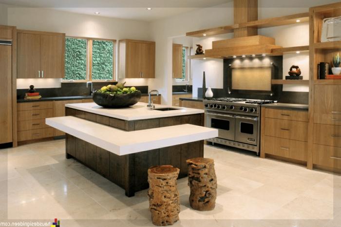 ejemplos de diseño de cocinas con isla originales, cocinas modernas pequeñas con detalles de corativos atractivos