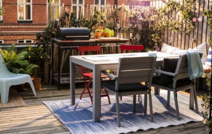 patios y terrazas pequeñas con encanto, ideas de decoración comedor externo con barbacoa