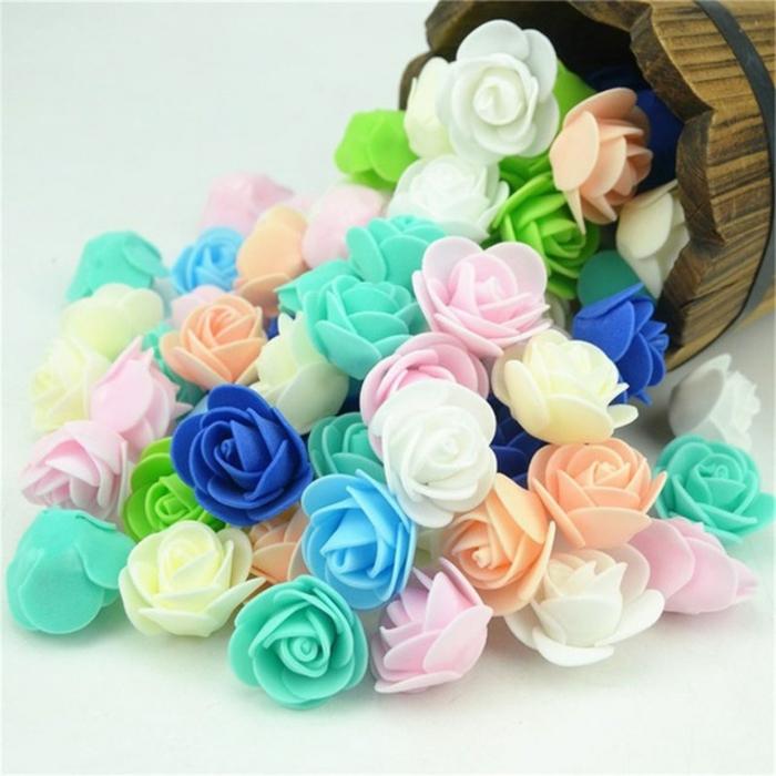 bonitas rosas en goma eva decorativas en diferentes colores, flores en azul, verde, blanco, rosado y naranja
