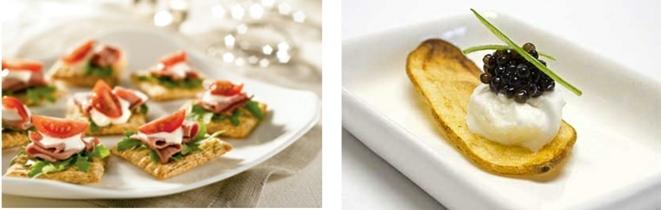 entrantes fáciles y rápidas, comida para picoteo, galletas saladas con jamón, queso, lechuga y tomates, papas fritas con caviar