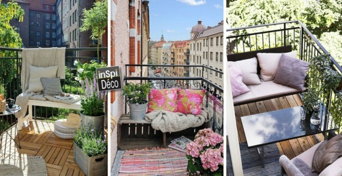 tres ejemplos de balcones bonitos y acogedores con muchos detalles decorativos, ideas para decorar terrazas