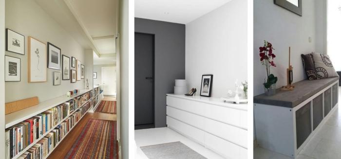 tres ejemplos de decoracion cuadros pasillo, pasillos largos y estrechos decorados de manera moderna
