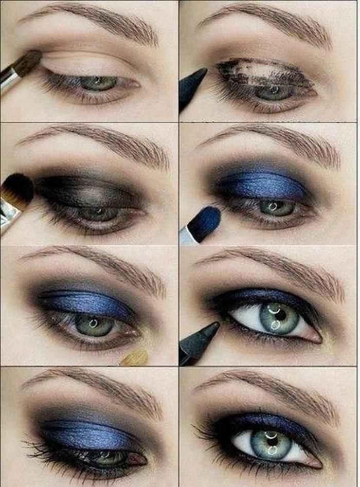 maquillaje ojos paso a paso para conseguir ojos ahumados en azul, sombras en color violeta relucientes
