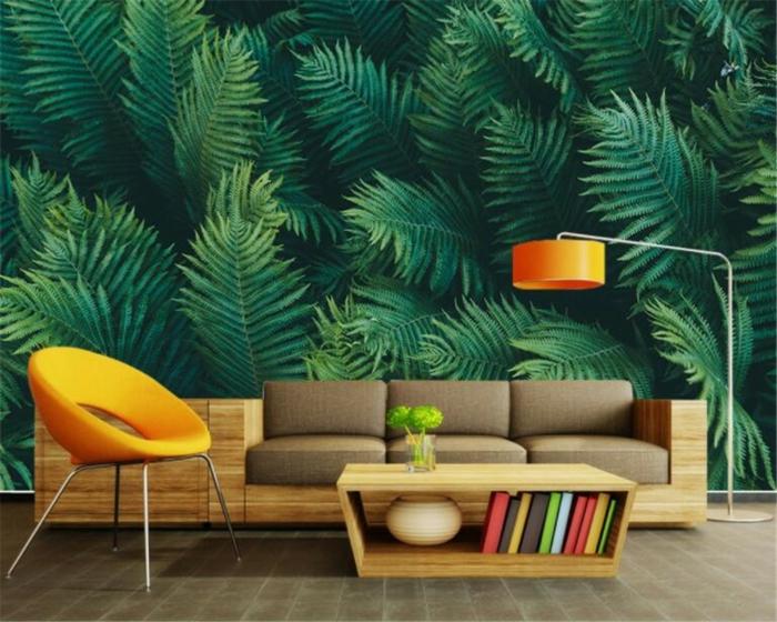 ideas de decoración salón con detalles en verde y color naranja, tendencias 2018 papel pintado rayas y motivos florales