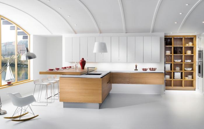 combinación de colores de última tendencia, blanco, marrón claro y rojo, ideal para tu cocina americana