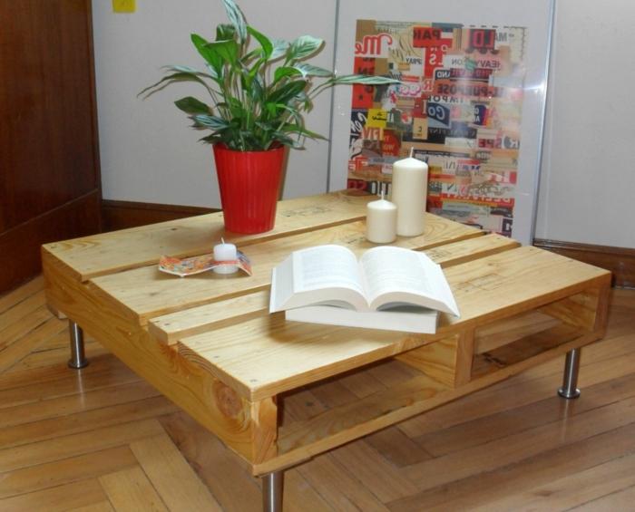 como hacer una mesa de madera, mesa con patas de metal y con libro abierto encima de ella, velas