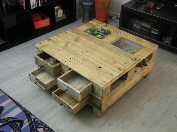 mesa de palets con cajones y con vidrio en la parte superior, como hacer una mesa de madera