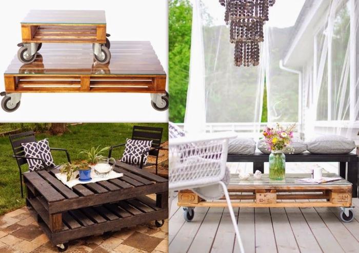 ideas para mesas de palets con ruedas de diferentes tamaños, para el jardín o para el salón
