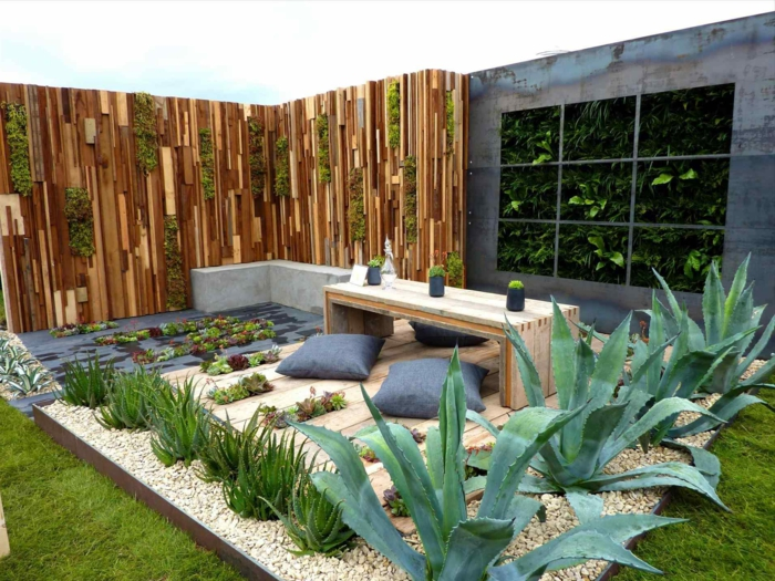 precioso jardín decorado en estilo zen, plantas suculentas y cactus, ingeniosas propuestas de como decorar un jardin pequeño