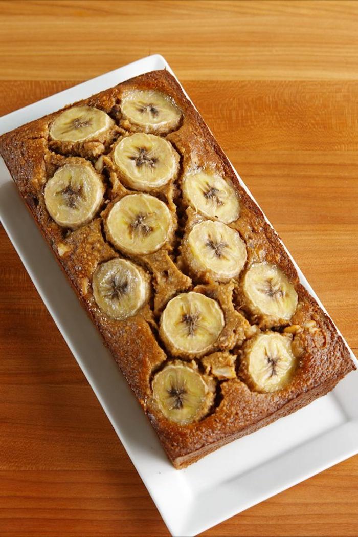 desayunos saludables ideas, pan sin harina con platano, ideas de comidas fáciles, rápidas y saludables