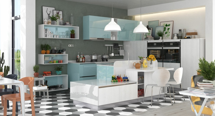 cocina moderna con estanterias blancas y en azul claro con suelo de figuras geometricas, cocinas con peninsula