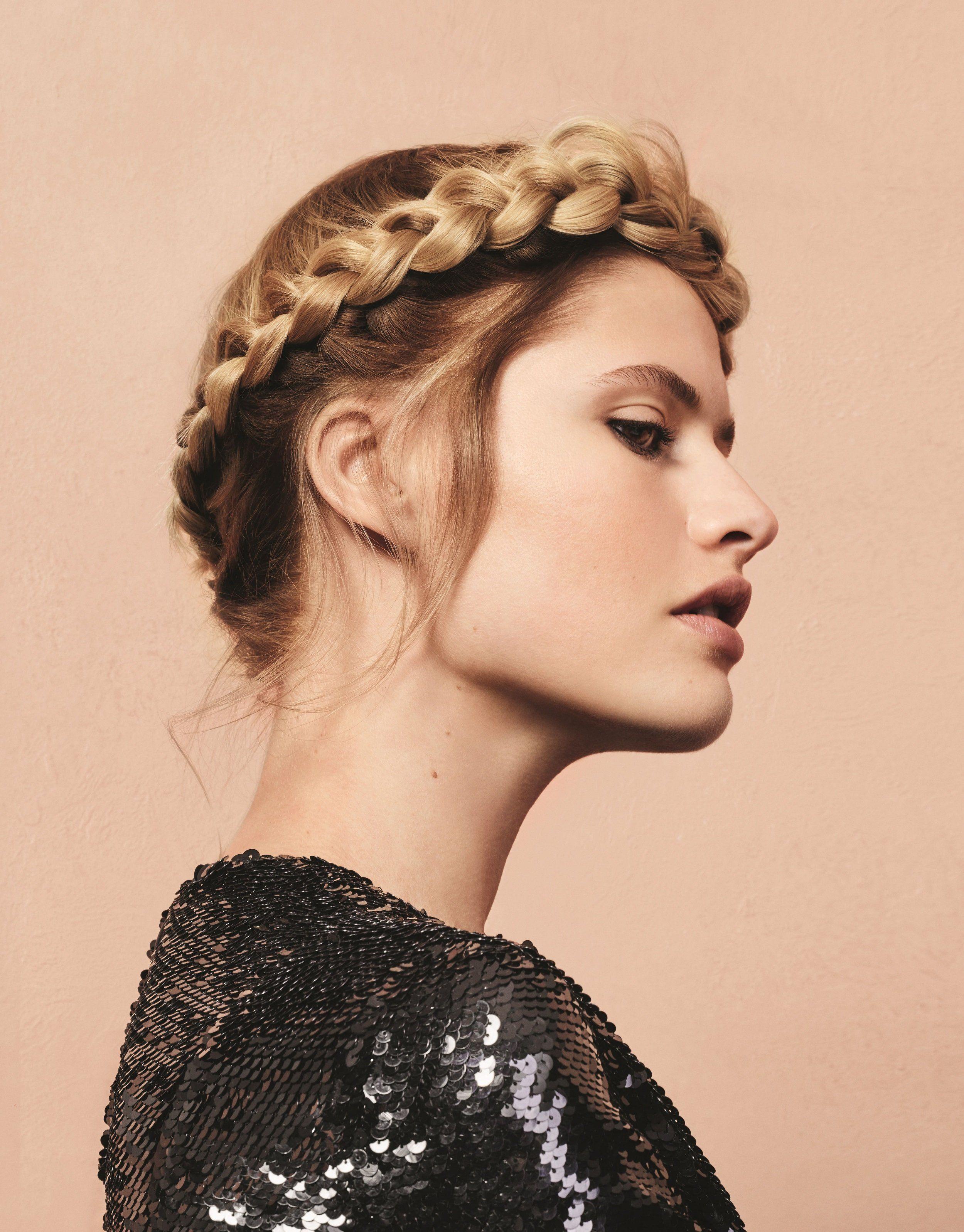 recogidos con trenzas fáciles, rápidos y modernos, peinado elegante con trenza tipo tiara alrededor de la cabeza
