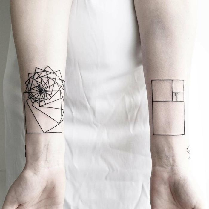 tatuajes geometricos super originales, dos tatuajes en los antebrazos con rectángulos, diseños originales