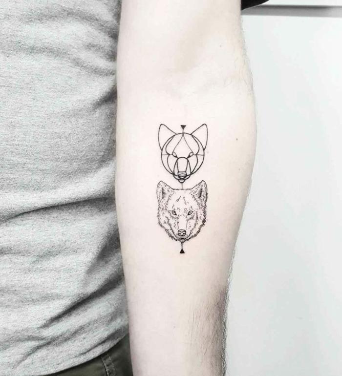 tatuajes geométricos simbolicos con dibujos de animales, cabeza de lobo en estilo geométrico