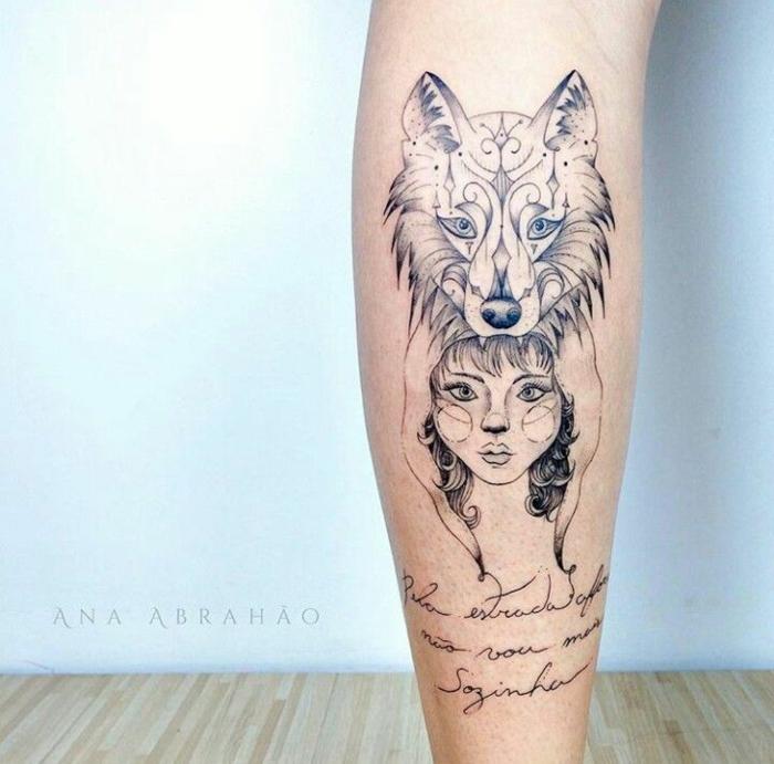 precioso diseños tatuajes simbolicos, lobo ornamentado cabeza de mujer, tatuajes con letras