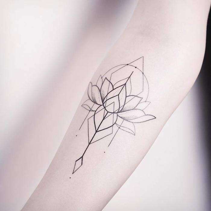 flor de loto tatuado en el antebrazo, diseño de encanto, tatuajes geométricos con significado